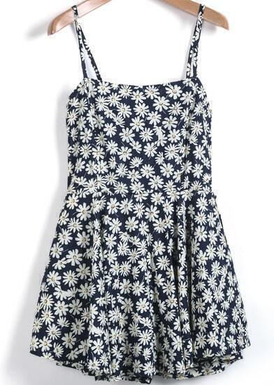 Navy Spaghetti Strap Daisy Print Jumpsuit