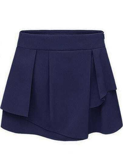 Blue Side Zipper Asymmetrical Chiffon Skirt Shorts