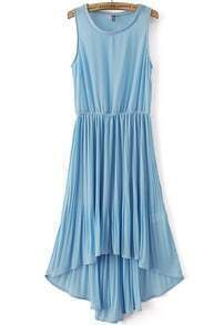 Blue Sleeveless Elastic Waist High Low Pleated Dress