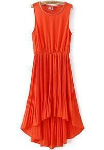 Orange Sleeveless Elastic Waist High Low Pleated Dress