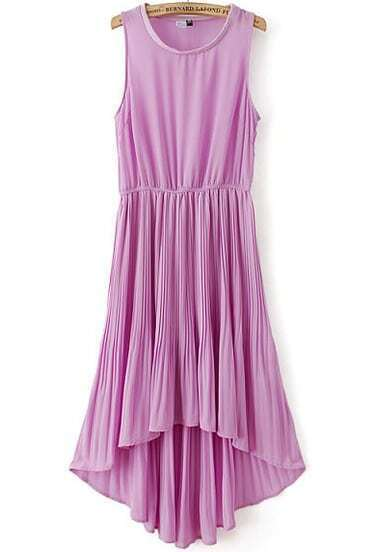 Purple Sleeveless Elastic Waist High Low Pleated Dress