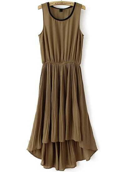 Brown Sleeveless Elastic Waist High Low Pleated Dress