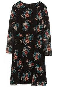 Black Long Sleeve Vintage Floral Chiffon Dress