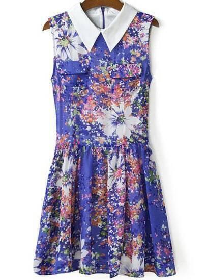 Purple Sleeveless Floral Pleated Chiffon Dress