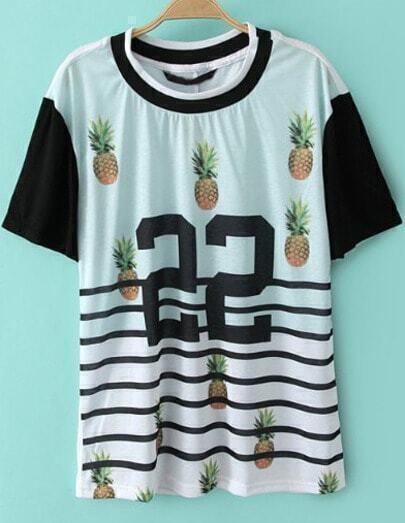 White Short Sleeve Striped 22 Pineapple Print T-Shirt