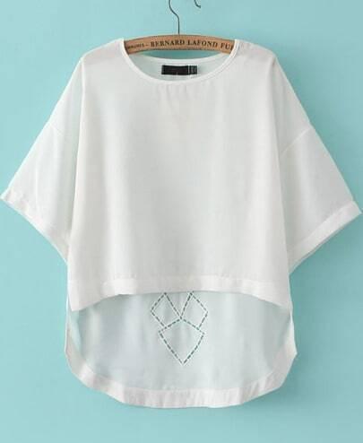 White Short Sleeve Hollow Dipped Hem T-Shirt