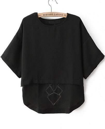Black Short Sleeve Hollow Dipped Hem T-Shirt