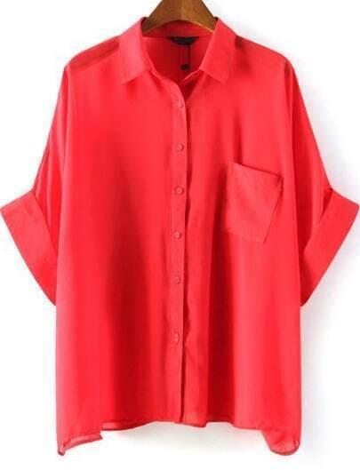Red Batwing Half Sleeve Pocket Chiffon Blouse