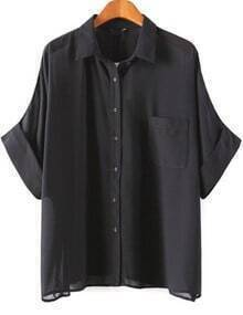 Black Batwing Half Sleeve Pocket Chiffon Blouse