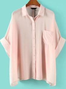 Pink Batwing Half Sleeve Pocket Chiffon Blouse