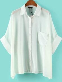 White Batwing Half Sleeve Pocket Chiffon Blouse