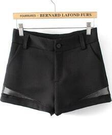 Black Contrast Hollow High Waist Shorts