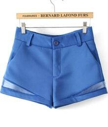 Blue Contrast Hollow High Waist Shorts