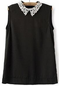 Black Contrast Hollow Lapel Sleeveless Chiffon Blouse