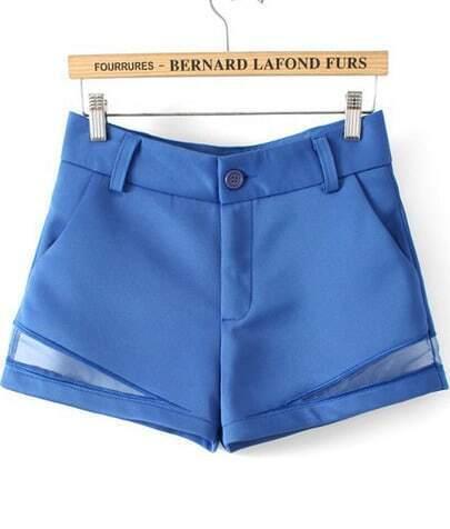 Blue Contrast Hollow High Waist Shorts