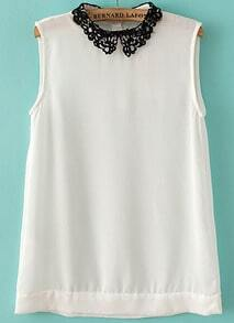 White Contrast Hollow Lapel Sleeveless Chiffon Blouse