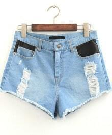 Blue Contrast PU Leather Ripped Denim Shorts