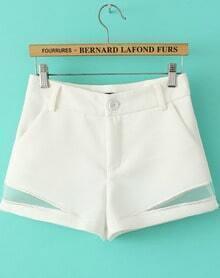 White Contrast Hollow High Waist Shorts
