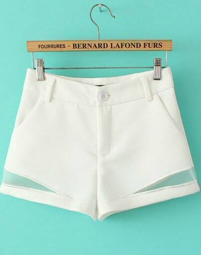 White Contrast Hollow High Waist Shorts