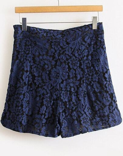 Navy High Waist Embroidered Lace Shorts