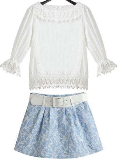 White Half Sleeve Lace Top With Blue Skirt