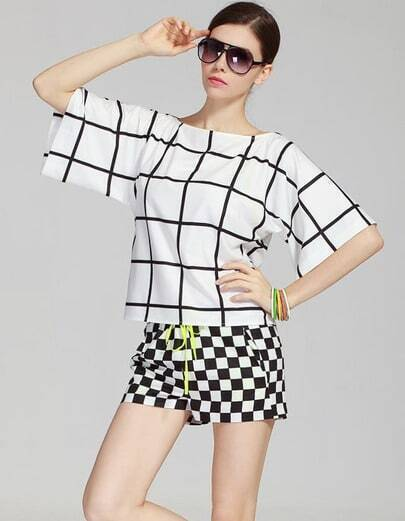 White Batwing Sleeve Plaid Top With Drawstring Shorts