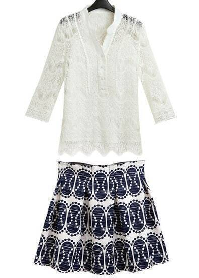 White Long Sleeve Hollow Two Pieces Top With Skirt