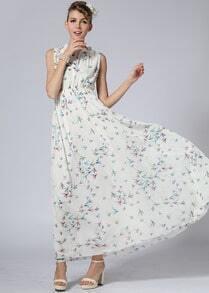 White Sleeveless Backless Birds Print Long Dress