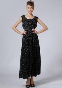 Black Short Sleeve Dandelion Print Full Length Dress