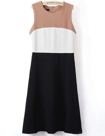 Black Contrast Khaki Sleeveless Tank Dress