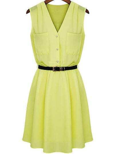Yellow V Neck Sleeveless Pockets Chiffon Dress