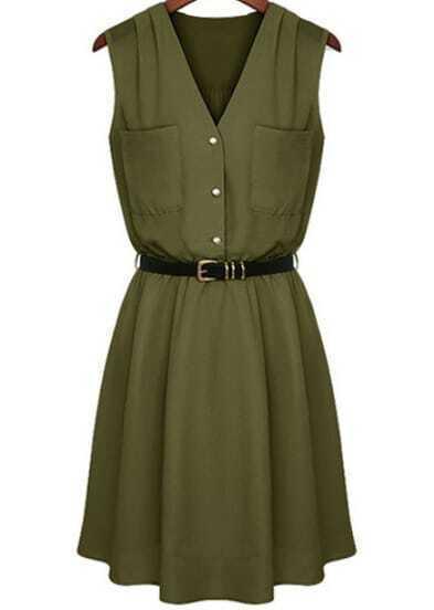 Green V Neck Sleeveless Pockets Chiffon Dress