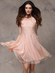 Pink Short Sleeve Contrast Lace Chiffon Flare Dress