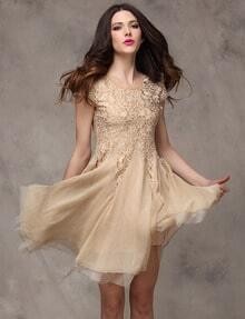 Khaki Short Sleeve Contrast Lace Chiffon Flare Dress