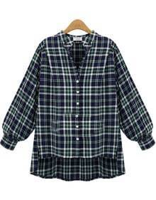 Blue Long Sleeve Plaid Dipped Hem Blouse