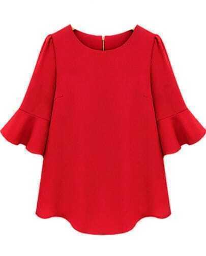 Red Ruffle Half Sleeve Loose Chiffon Blouse
