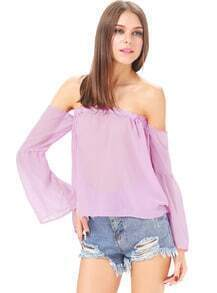 Purple Off the Shoulder Strapless Chiffon Blouse