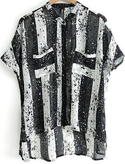 Black White Vertical Stripe Dipped Hem Chiffon Blouse