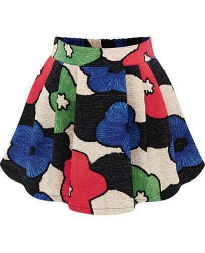 Blue High Waist Floral Flare Skirt