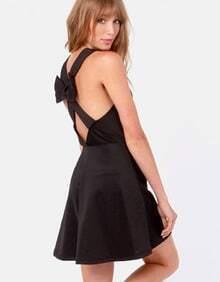 Black Contrast Mesh Yoke Back Bowknot Dress