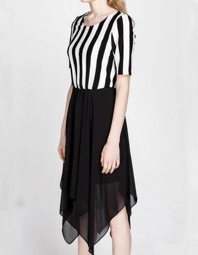 Blcck White Striped Contrast Chiffon Asymmetrical Dress