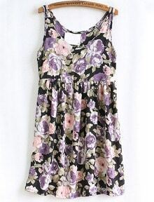 Purple Spaghetti Strap Floral Pattern Chiffon Dress