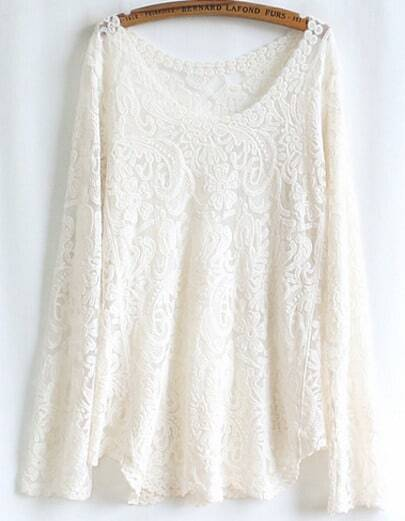 Beige Long Sleeve Embroidery Lace Blouse