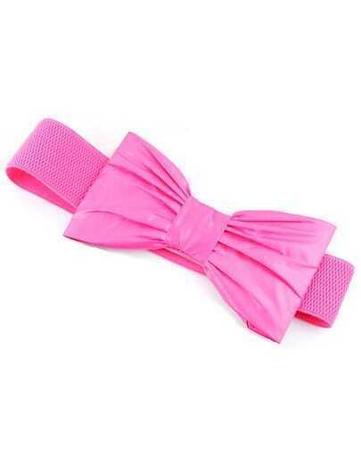 Rose Red Elastic Bow Belt