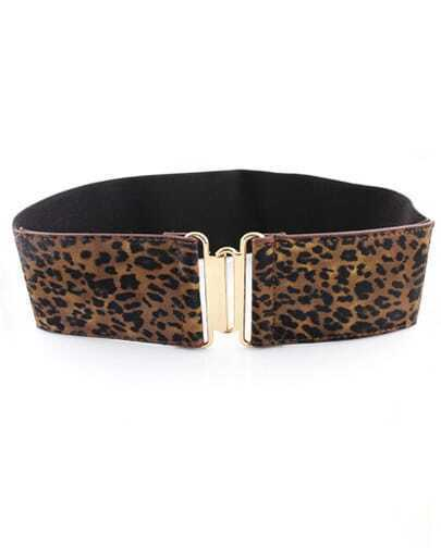 Brown Contrast Leopard PU Leather Belt