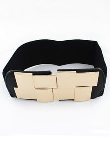 Black Metal Embellished Elastic Belt