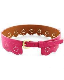 Rose Red Hollow PU Leather Belt