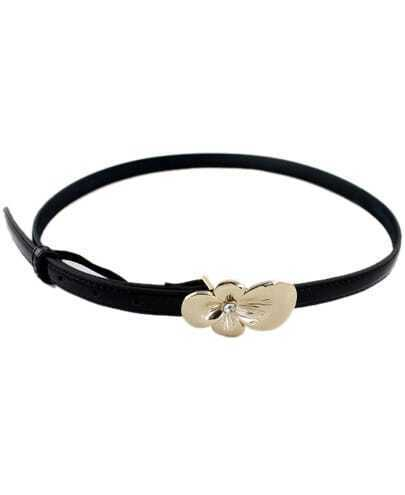 Gold Flower Embellished Black PU Leather Belt