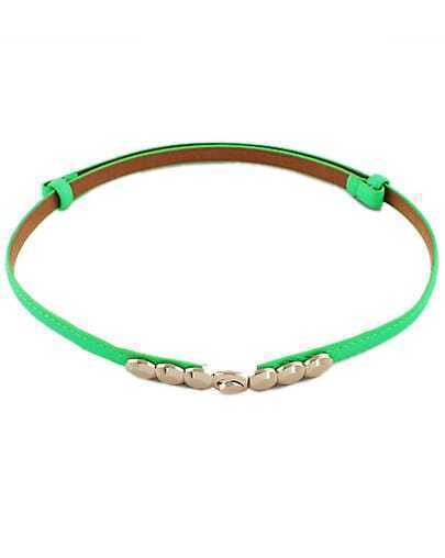 Green Metal Buckle PU Leather Belt