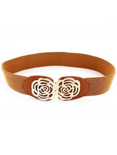 Brown Metal Hollow Flower Elastic Belt